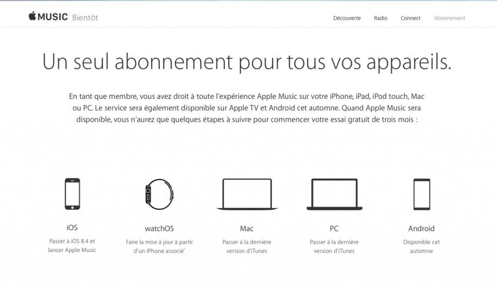 Apple Music, disponible sur tous les eDevices et les ordinateurs.
