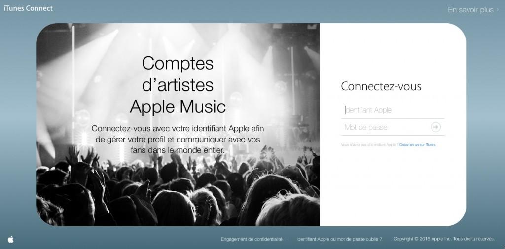 Connect pour les Artistes, la page d'enregistrement.