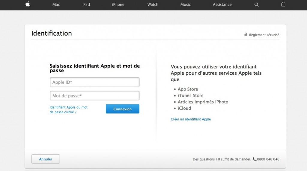 """La fenêtre """"ID"""" Apple pour accéder à tous les services."""