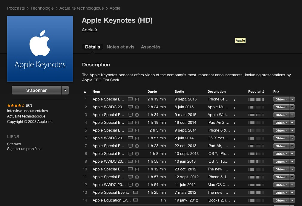 Toutes les Keynotes dans votre iTunes !