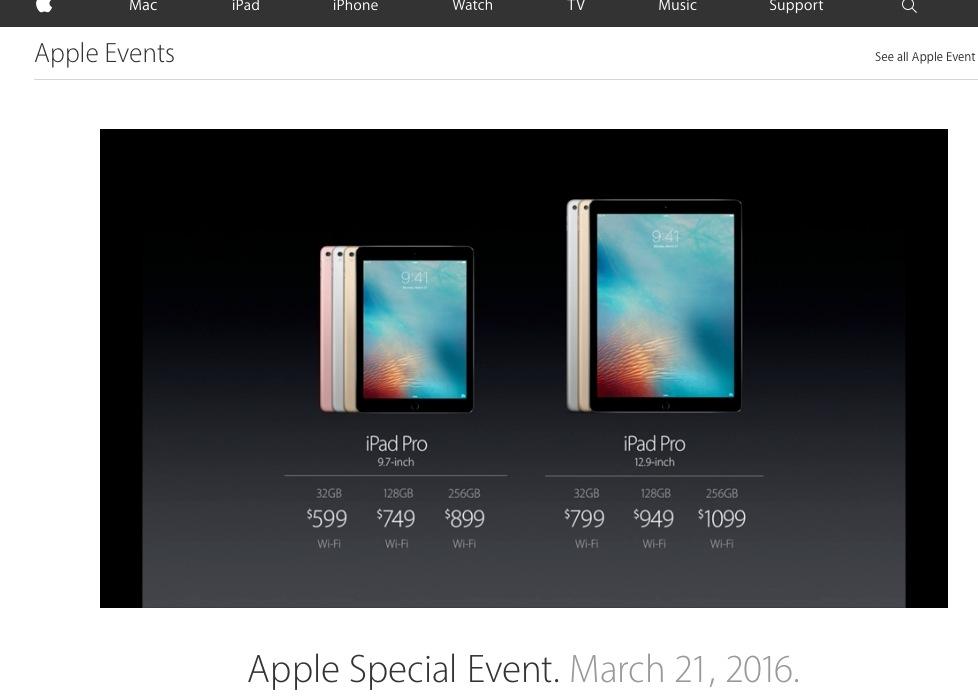 iPad Pro présenté lors du Keynote Apple du 21/3/16.